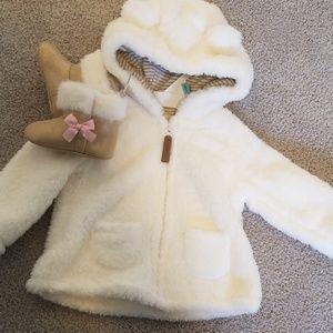 Baby girl jacket and booties